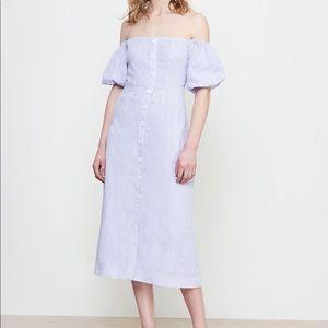 Anthropologie Kitri Violette Linen Bardot Dress 4